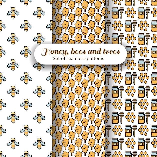 Набор из трех тем пчелы и меда бесшовные модели Premium векторы