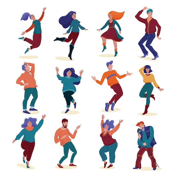 大きなセット、さまざまな人々、男性と女性のコレクション、スリムでぽっちゃりしたダンスと歌が楽しく Premiumベクター