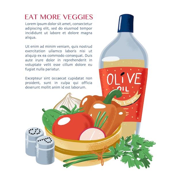 Салат овощной, оливковое масло, петрушка, соль, перец Premium векторы