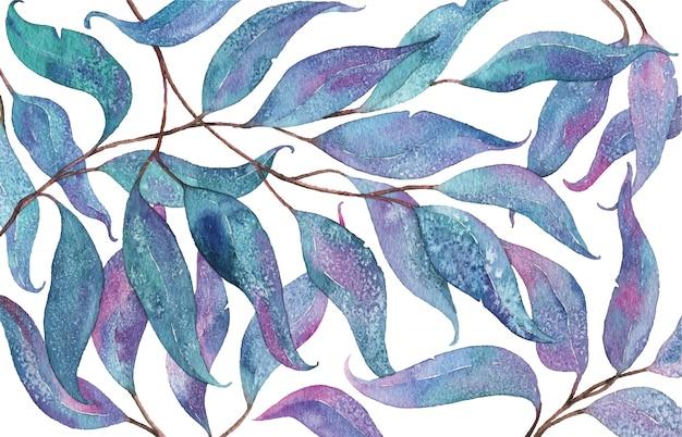 Абстрактная акварель с эвкалиптовыми листьями Premium векторы