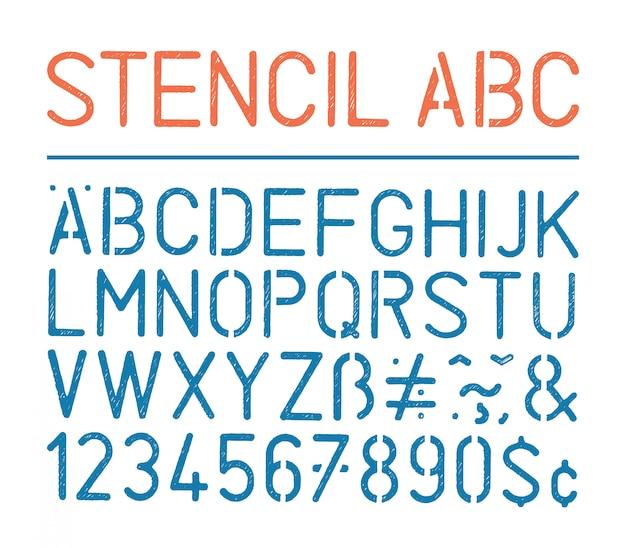レトロなベクトルグランジステンシルアルファベットと白の数字 Premiumベクター