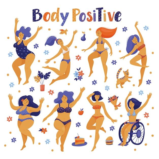 ビキニで踊る体肯定的な幸せな女性のセット Premiumベクター