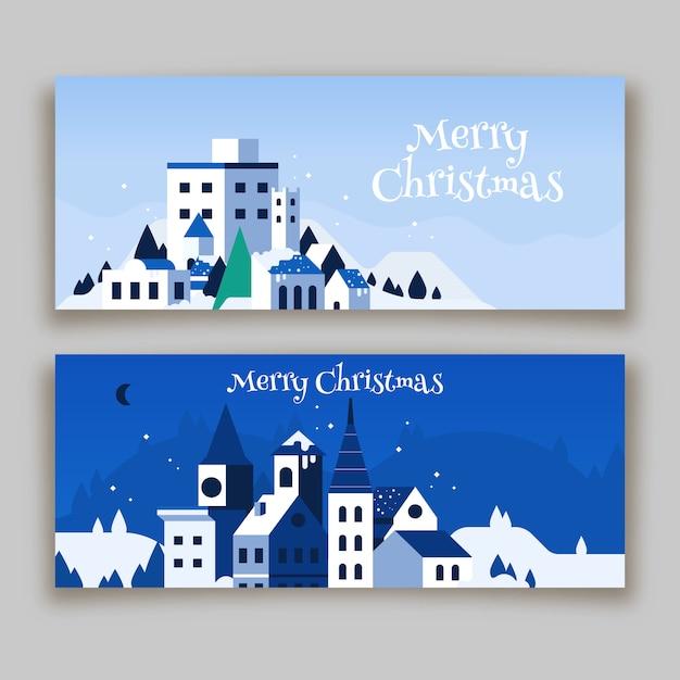 Рождественская коллекция баннеров города Premium векторы