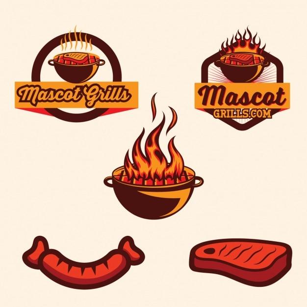 Принадлежности для барбекю коллекция шаблонов логотипа Бесплатные векторы