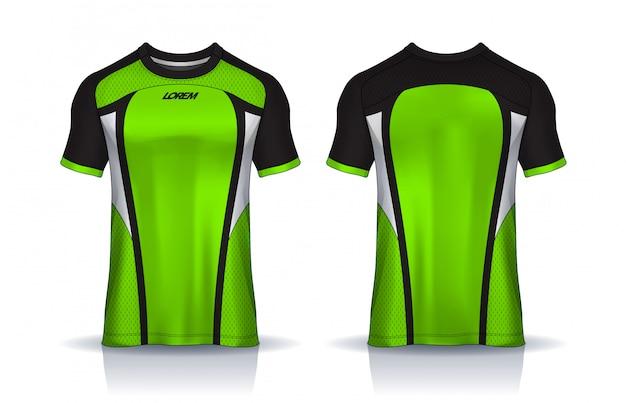 Футболка спортивного дизайна шаблона, футболка для футбольного клуба. равномерный вид спереди и сзади. Premium векторы
