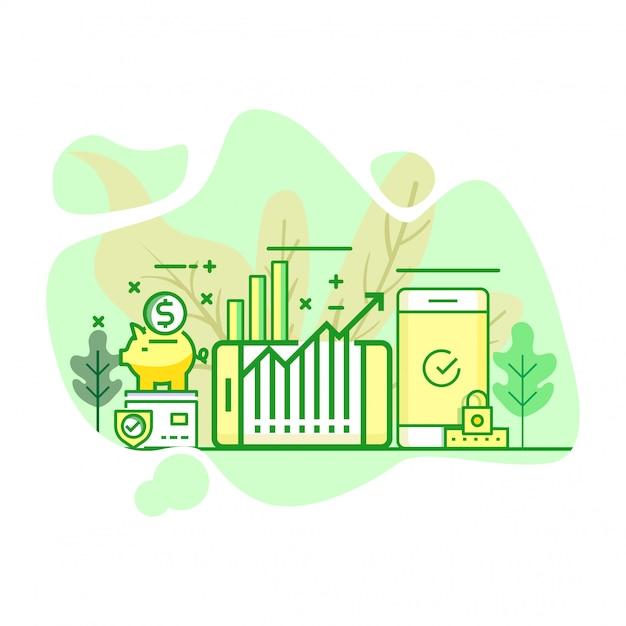 投資モダンなフラットグリーンカラーイラスト Premiumベクター