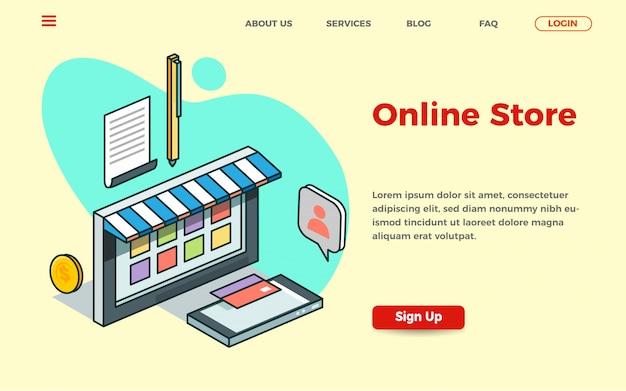 等角投影図のオンラインストアランディングページテンプレート Premiumベクター