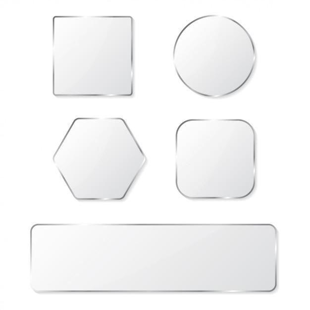 クロームフレームセットの白いガラスボタン Premiumベクター