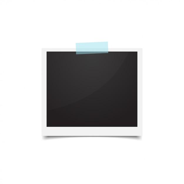 フォトフレームは紙テープで突き刺さった。空のレトロな写真 Premiumベクター