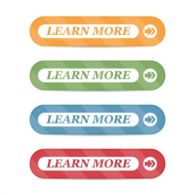 分離された影付きの詳細ボタンを学ぶのセット Premiumベクター