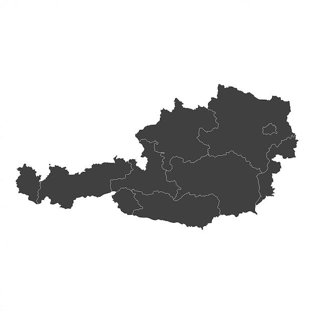Карта австрии с выделенными регионами в черном цвете Premium векторы