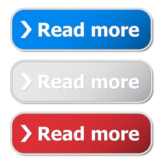 Набор кнопки «читать далее» с металлическим каркасом и тенью Premium векторы