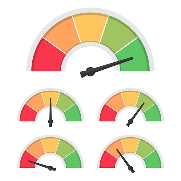 Набор идикатора удовлетворенности клиента. скорость спидометра. концепция обратной связи Premium векторы