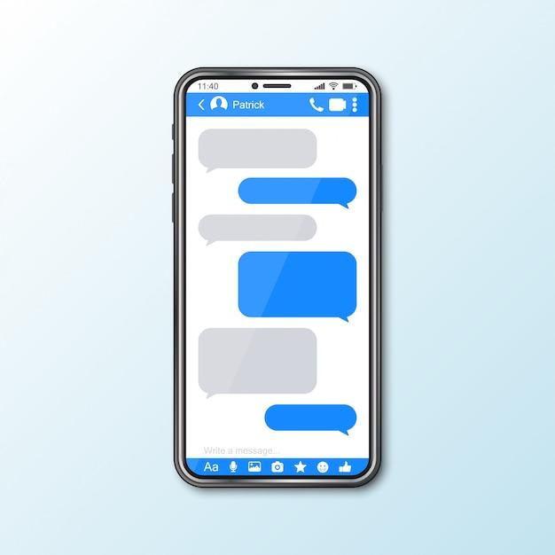 ソーシャルメディアのメッセンジャーウィンドウを備えたスマートフォンとのモックアップ Premiumベクター