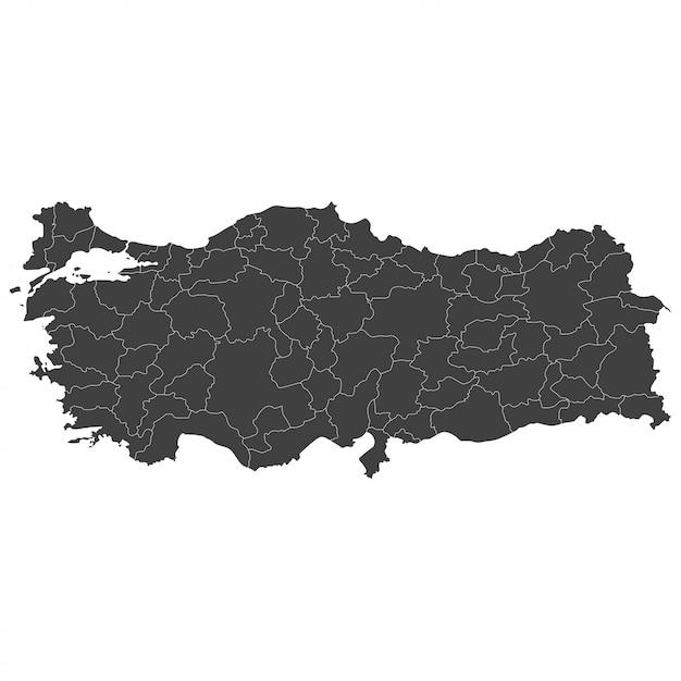 白地に黒い色で選択した領域を持つトルコ地図 Premiumベクター