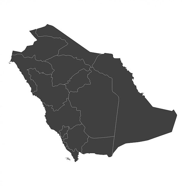 白地に黒い色で選択した領域を持つサウジアラビア地図 Premiumベクター
