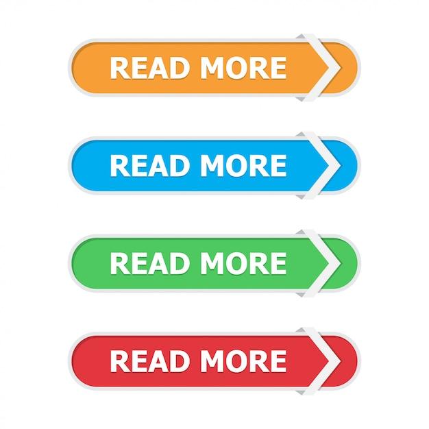 白の矢印とフラットに設定されたボタンをもっと読む Premiumベクター
