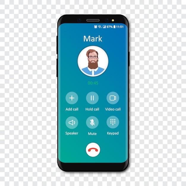 透明な上のスマートフォン通話アプリのインターフェーステンプレート。電話の着信 。 Premiumベクター