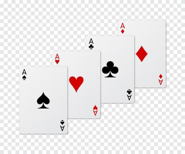 Набор из четырех тузов покер карты. Premium векторы