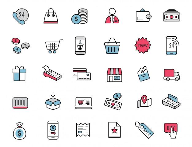 Набор иконок линейной электронной коммерции шоппинг иконки Premium векторы