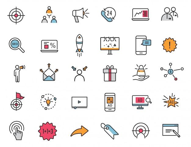 Набор линейных рекламных иконок маркетинговые иконки Premium векторы