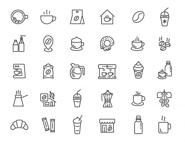 Набор иконок линейной кофейни. кофейный напиток иконки в простом дизайне. векторная иллюстрация Premium векторы
