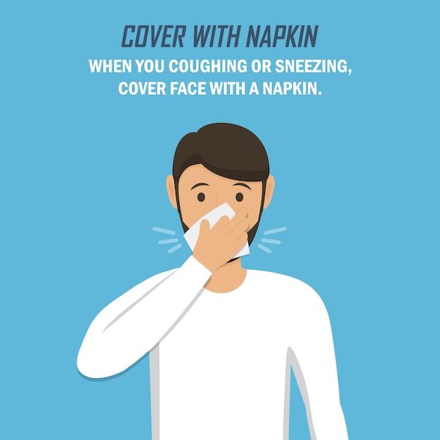 コロナウイルスのパンデミック時の推奨事項。ナプキンで覆います。男はくしゃみをし、青色の背景にフラットなデザインでナプキンで身を包む Premiumベクター