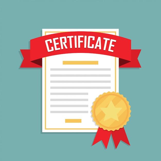 Значок сертификата с лентой и медалью в плоском дизайне Premium векторы