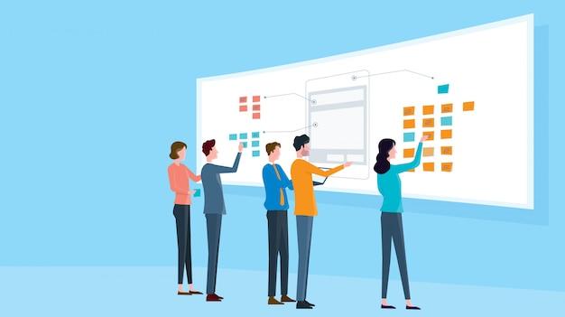 Концепция встречи группы бизнес группы Premium векторы