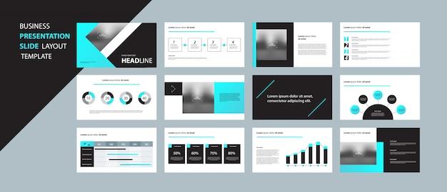 Бизнес шаблон презентации дизайн концепции с элементами инфографики Premium векторы