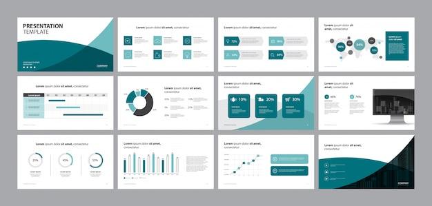 ビジネスプレゼンテーションデザインテンプレートとページレイアウトデザイン Premiumベクター