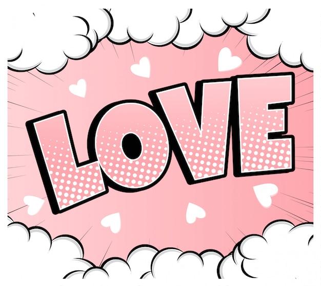 Комикс пузырь форме сердца любовь поп-арт в стиле ретро. романтика и день святого валентина. люблю мультипликационный взрыв. влюбляться. Premium векторы