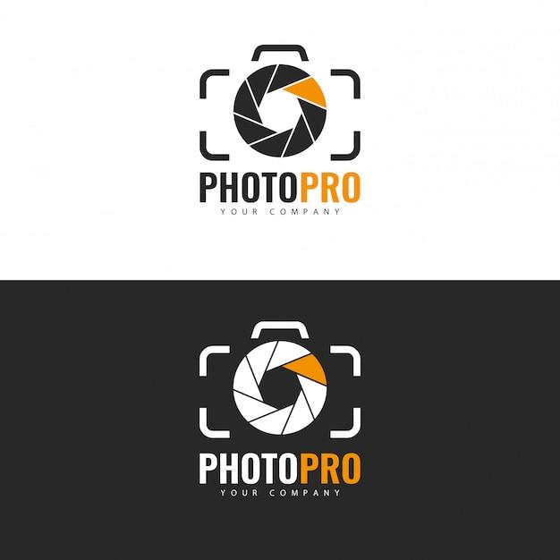フォトスタジオのロゴデザイン。 Premiumベクター