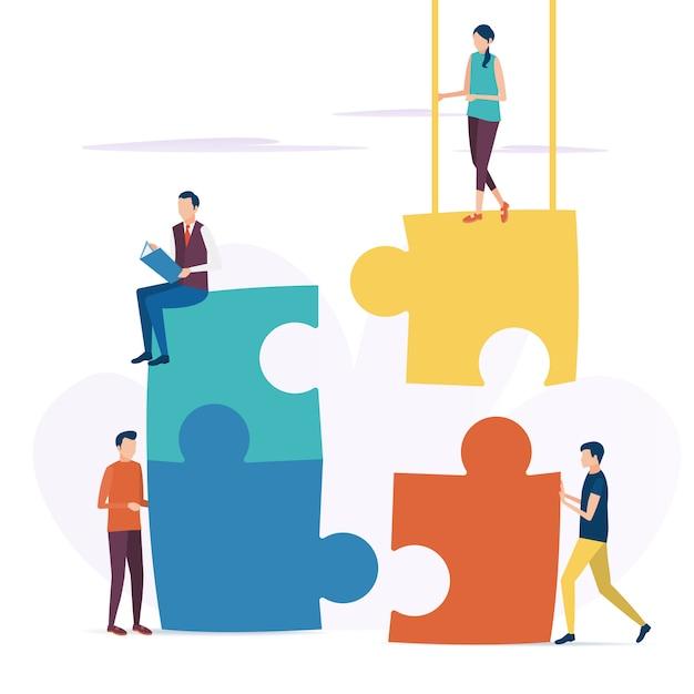 Концепция бизнес совместной работы. векторная иллюстрация в плоском стиле. Premium векторы
