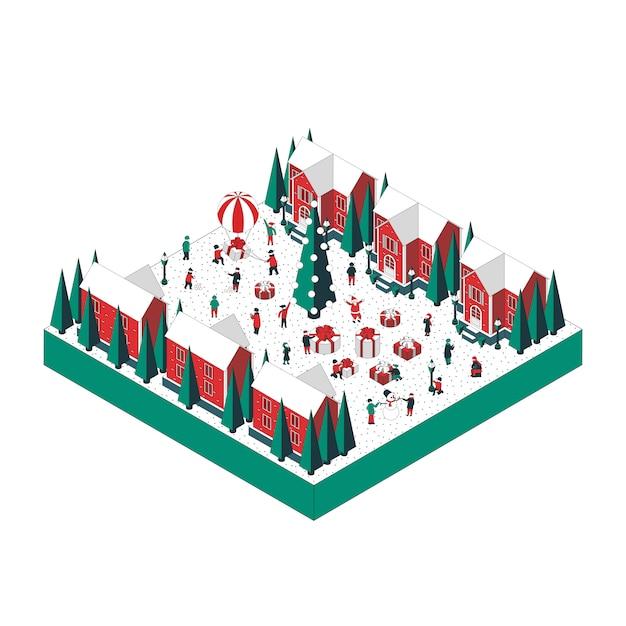 クリスマスの風景の等角投影図 Premiumベクター