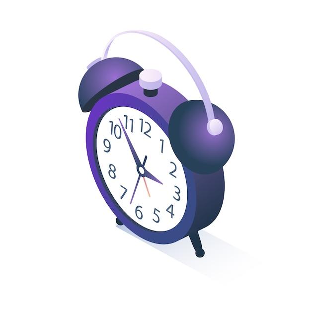 白で隔離される等尺性目覚まし時計 Premiumベクター