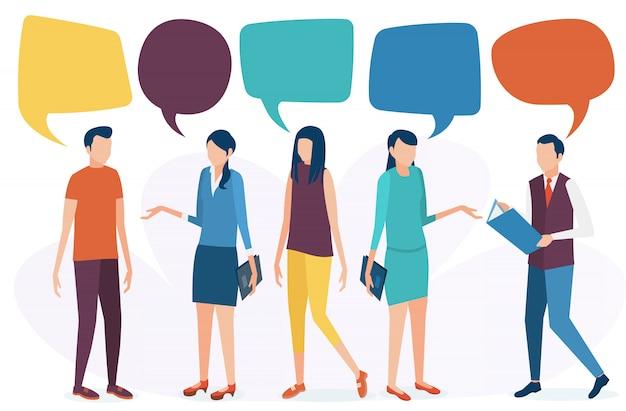 社会的コミュニケーションの概念人々は話し、話し合い、そして対話を行います。ソーシャルネットワーク、チャット、フォーラムフラットスタイルのベクトル図です。 Premiumベクター