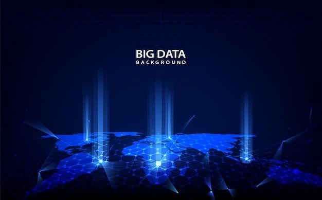 Абстрактный фон технологии с большими данными Premium векторы