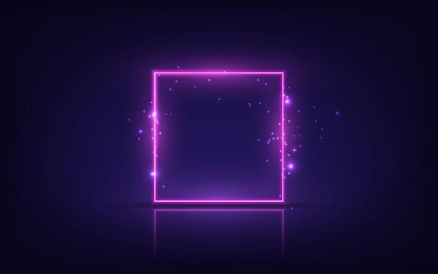 Неоновая рамка. сияющий квадратный баннер. изолированные на прозрачном фоне. Premium векторы