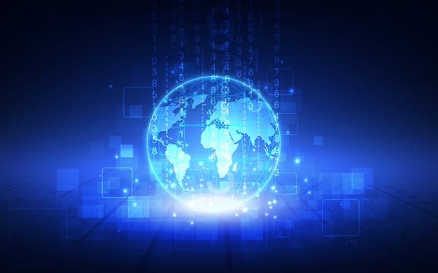 Лучшая интернет-концепция глобального бизнеса. светящиеся линии на технологическом фоне. Premium векторы