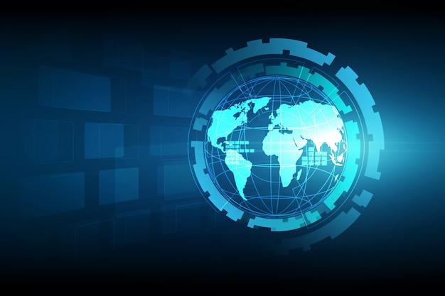 グローバルビジネスの最高のインターネットの概念。グローブ、技術的背景に輝く線。 Premiumベクター