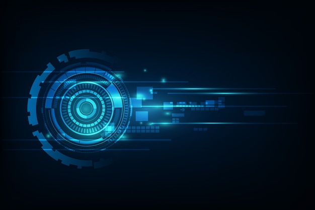 Голубая абстрактная высокая иллюстрация предпосылки технологии интернета скорости. сканирование глаз вирусом компьютера. движение, движение. Premium векторы