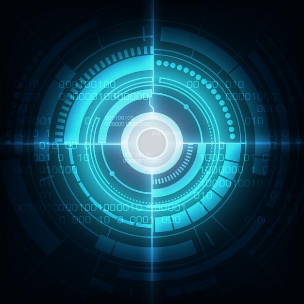 サークルブルーの抽象的な技術革新の背景 Premiumベクター