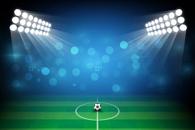 Поле футбольной арены с ярким дизайном огней стадиона. векторная подсветка Premium векторы