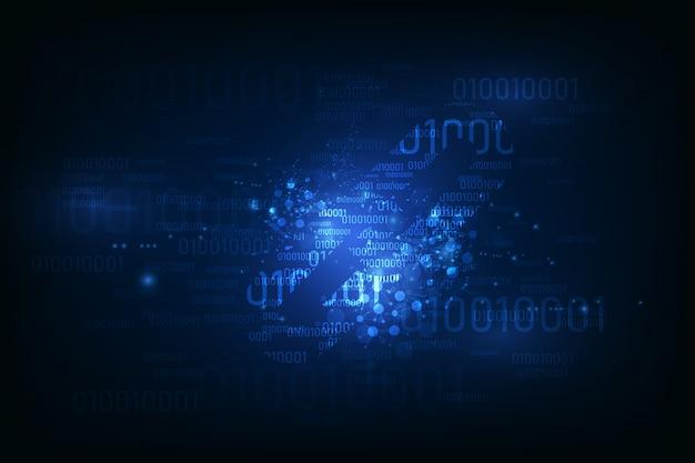 バイナリコード番号上のブロックチェーンハイパーリンクシンボルはビッグデータフロー情報です。 Premiumベクター