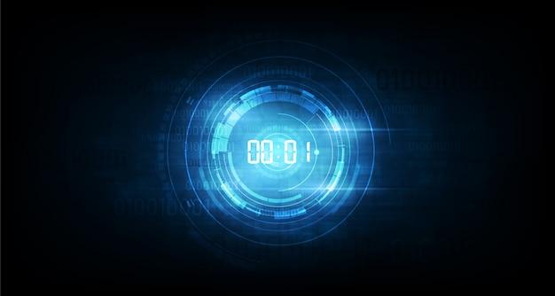 デジタル番号タイマーの概念とカウントダウン、透明な抽象的な未来的な技術の背景 Premiumベクター