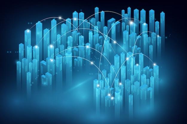 Умный город и концепция телекоммуникационной сети. абстрактная смешанная техника Premium векторы