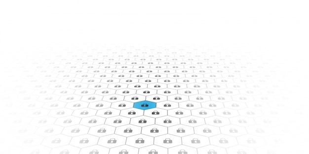ブロックチェーン回路ネットワーキングの概念。分散元帳テクノロジ Premiumベクター