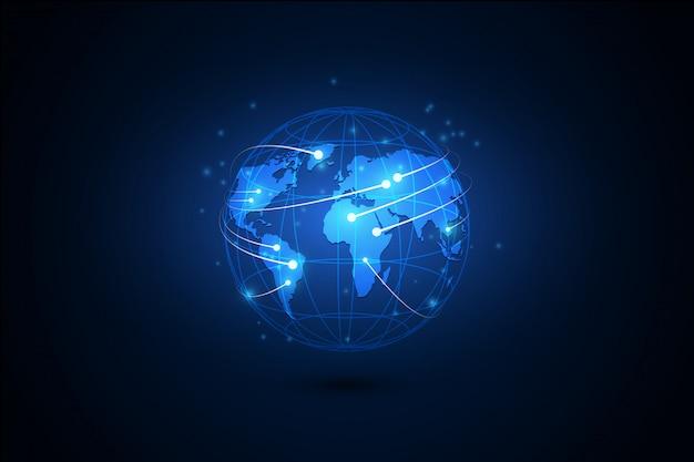 グローバルビジネスの最高のインターネットの概念。グローブ、技術的背景に輝く線 Premiumベクター