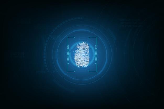 Отпечаток пальца интегрирован в фон печатной платы Premium векторы